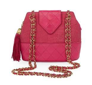 Vintage Chanel Raffia and Lambskin Shoulder Bag
