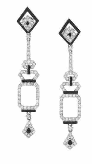 Pair of Custom-Made Diamond and Enamel Earrings