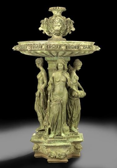 1: Monumental Patinated Bronze Garden Fountain