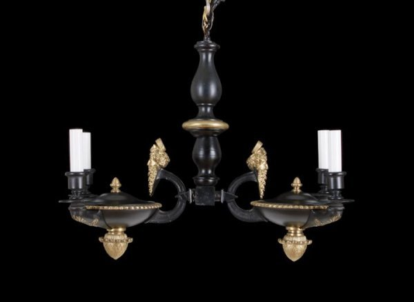 11: French Brass and Tole-Peinte Chandelier