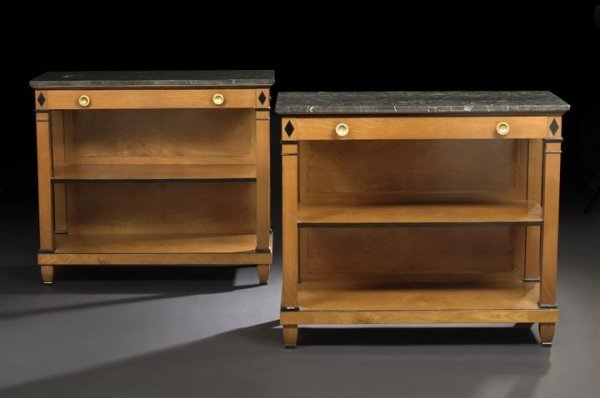 12: Pair of Directoire-Style Marble-Top Side Tables