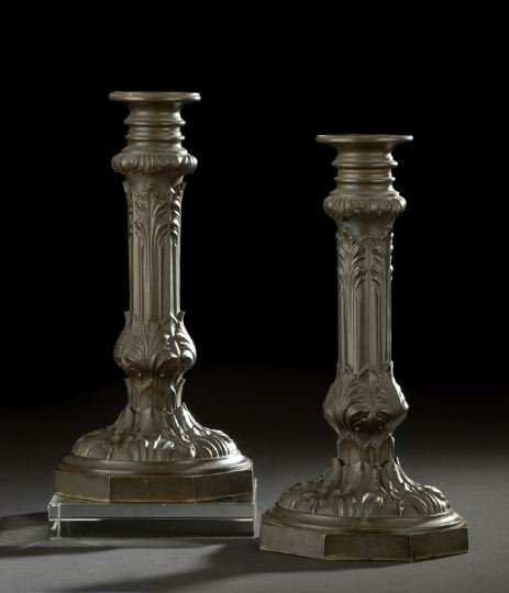 13: Pair of English Brass Kerosene Lamp Standards