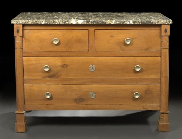 18: Empire-Style Fruitwood and Marble-Top Commode