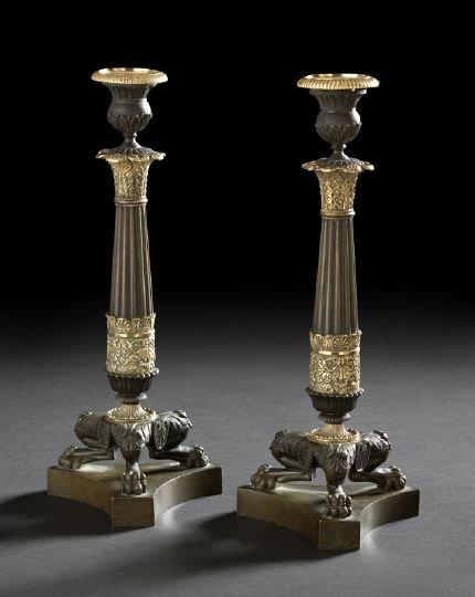 20: Pair of Louis-Philippe Bronze Candlesticks