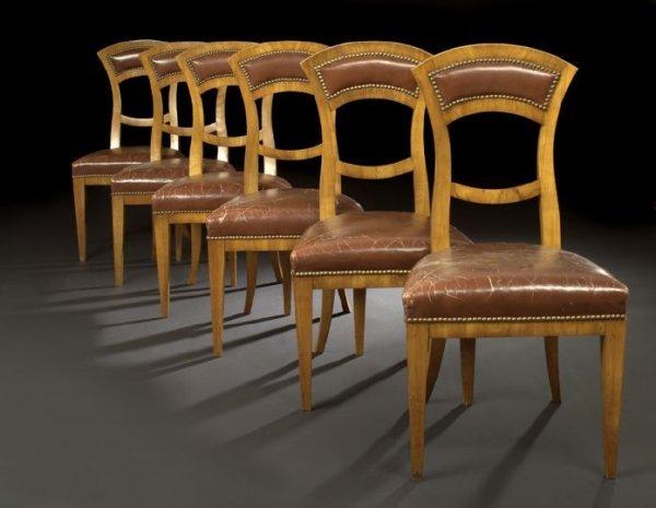 23: Suite of Six Biedermeier Fruitwood Sidechairs