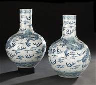 333: Pair of Chinese Blue and White Bottle Vases