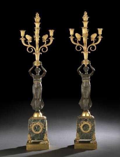 384: Pair of French Bronze and Marble Candelabra