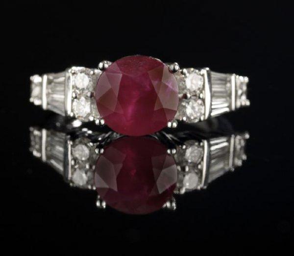 641: Eighteen-Karat White Gold, Ruby and Diamond Ring