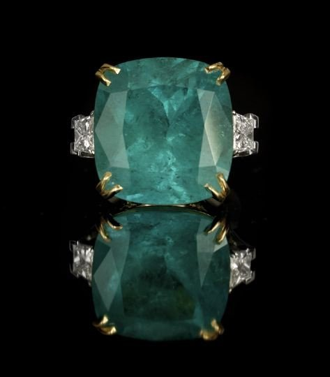 644: Platinum and 18 Kt Yellow Gold Emerald Ring