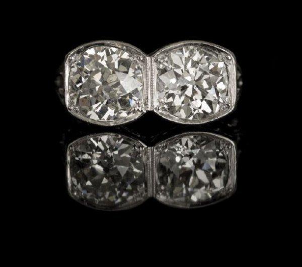 645: Art Deco Platinum-Top Two-Stone Diamond Ring