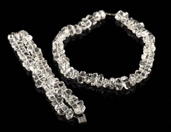 651: Lady's Rock Crystal Necklace and Bracelet Set