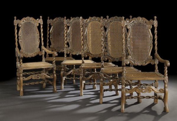 656: Suite of Six English Oak Dining Chairs