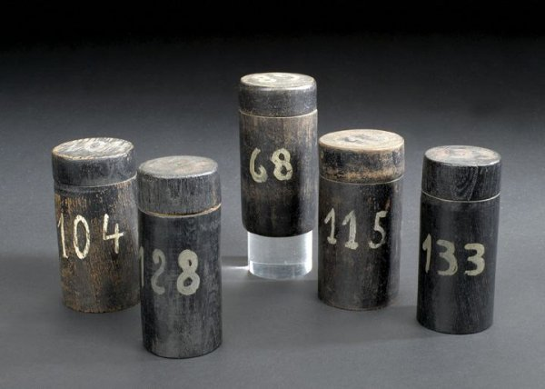 659: Group of Five Black-Painted Wooden Storage Jars