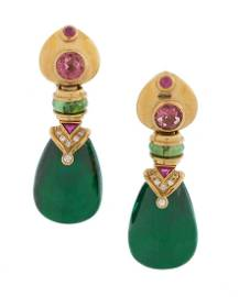 Pair of Ruby, Tourmaline and Diamond Earrings