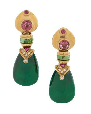 Pair of Ruby, Tourmaline and Diamond Earrings