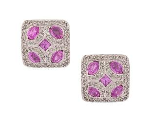 Pair of Pink Sapphire and Diamond Earrings