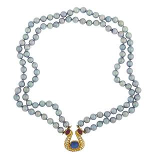 Pearl, Ruby, Diamond & Faux Sapphire Necklace