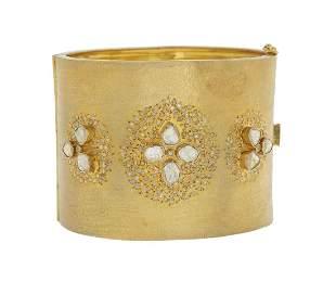 Wide Diamond Bangle Bracelet