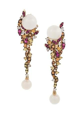 Pair of Pearl, Topaz and Diamond Earrings
