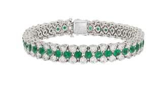 Faux Emerald and Diamond Bracelet
