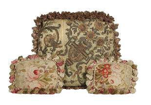 Three Fringed Pillows in Antique French Fabric