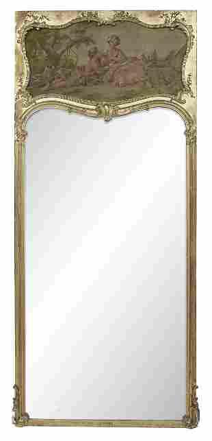 Louis XV-Style Giltwood Trumeau Mirror