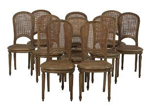 Ten Provincial Louis XVI-Style Dining Chairs