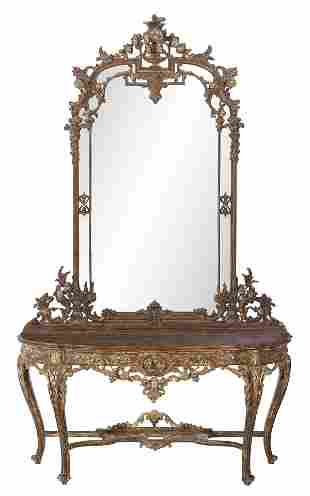 Regence-Style Faux Marbre Console Table & Mirror