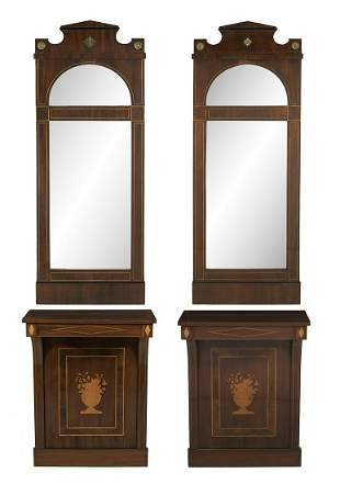 Pair of Biedermeier Mirrors and Consoles