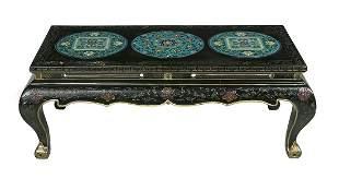 Chinese Ebonized & Cloisonne-Mounted Coffee Table