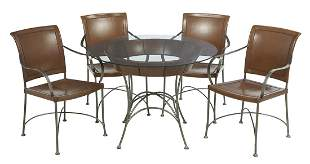 Leather and Glass-Top Table with Four Chairs