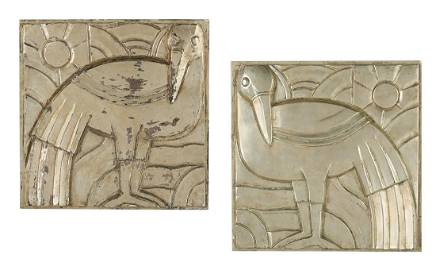 Silver-Leaf Plaster Plaques in the Art Deco Style