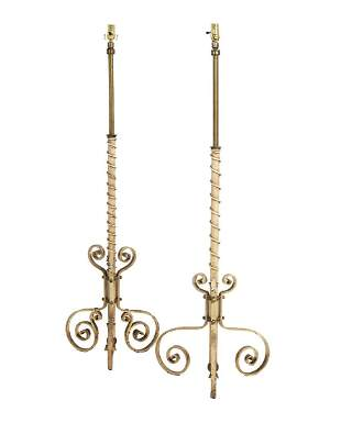 Brass and Cast Iron Floor Lamp Standards