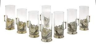 Soviet Causasian Silver Niello Tea Glasses