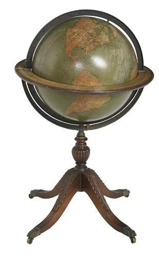 Kittinger Company Mahogany, Bronze & Paper Globe