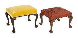 Two Chippendale-Style Mahogany Stools