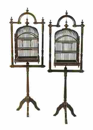 Pair of Fanciful Painted Wooden Bird Cages