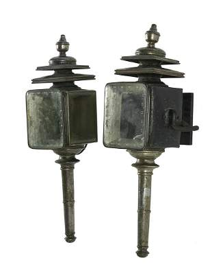 Pair of Victorian Metal and Glass Carriage Lamps