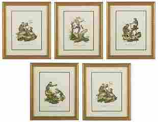 Four Continental Hand-Colored Engravings