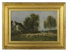 "Amedee Servin (French, 1829-1884), ""Farm Scene"""