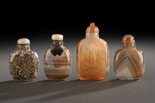 17: Group of Four Chinese Stone Snuff Bottles