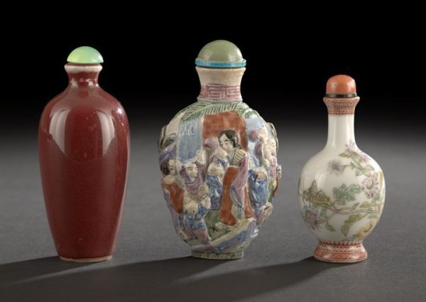 19: Group of Three Chinese Porcelain Snuff Bottles