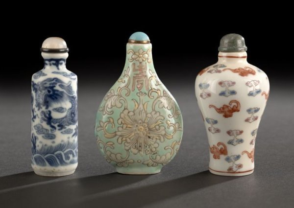 20: Group of Three Chinese Porcelain Snuff Bottles