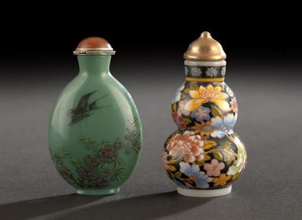 23: Two Chinese Enameled Glass Snuff Bottles