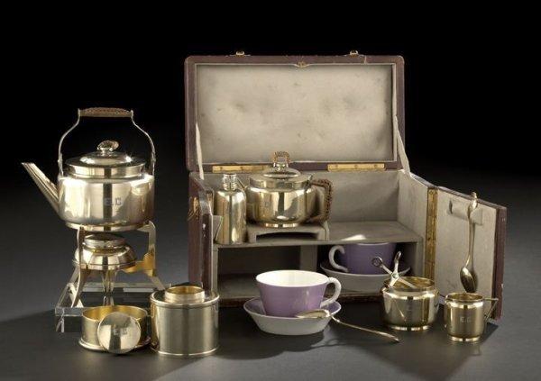 139: Cased Christopher Dresser Traveling Tea Set