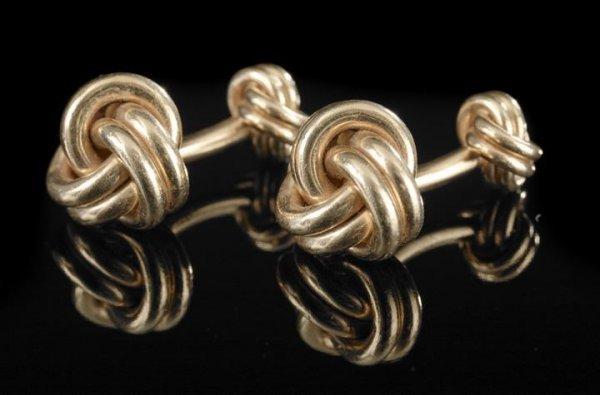 "554: Pair of Tiffany & Co.14 Kt. ""Knot"" Cufflinks"