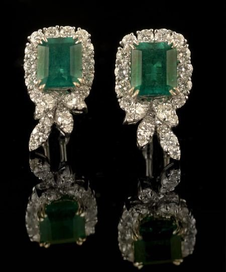 557: Pair of 18 Kt., Emerald and Diamond Earrings