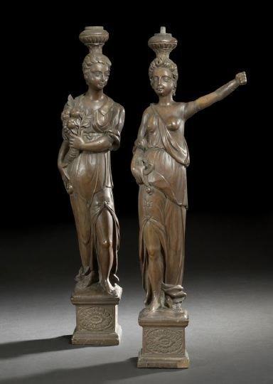 562: Tall Pair of German Lindenwood Female Figures
