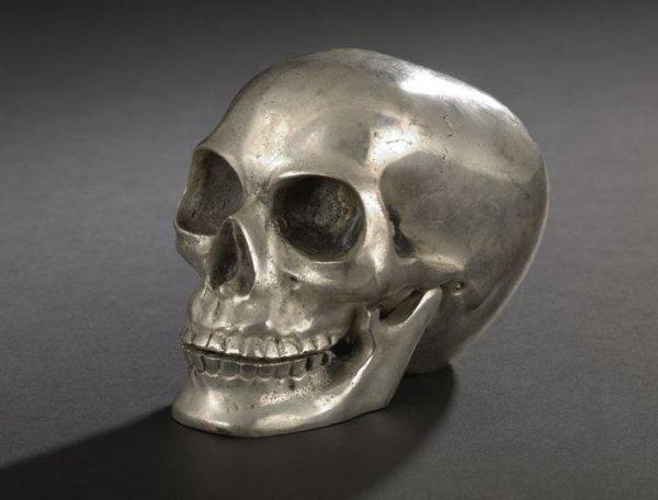 566: Continental Bronze Argente Skull Paperweight