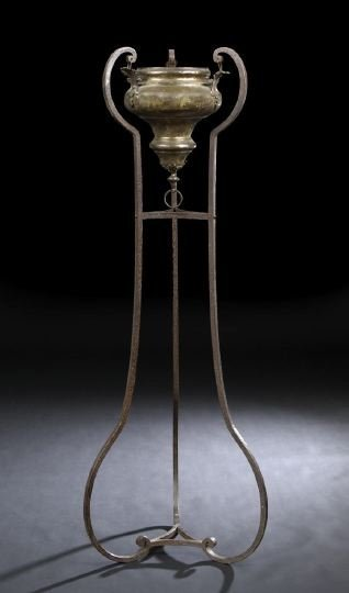 569: Italian Provincial Wrought-Iron and Brass Brazier